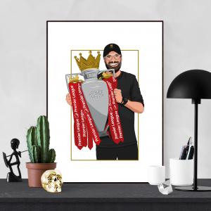 Jurgen Klopp Illustration Premier League Trophy